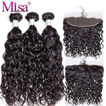 Mi Lisa Hair Brazilian Water Wave 3 Bundles With Lace Frontal Closure Remy 100% Human Hair Weave 13x 4 Lace Frontal With Bundle