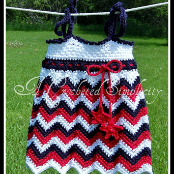 "Crochet Pattern: ""Chasing Chevrons"" Tank Top / Tunic & Sundress, Permission to Sell Finished Items"