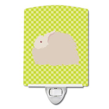 Fluffy Angora Rabbit Green Ceramic Night Light BB7785CNL