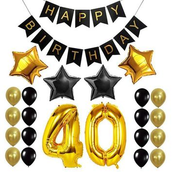 Happy Birthday Banner 40 inch Foil Balloon Paper Bunting Birthday Party Decoration Supplies