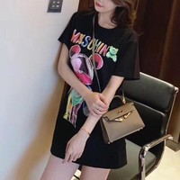 """Moschino"" Loose Fashion Cute Rhinestone Bear Letter Print Short Sleeve T-shirt Top Tee"