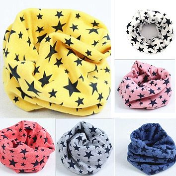 New Classic Children's Cotton Scarf Kids Boy Girl Ring Scarves Shawl Unisex Winter Knitting Stars Collar Neck Warmer