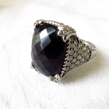 Judith Ripka Monaco Ring, Sterling Silver Onyx, Diamonique CZ stones, Vintage Size 10.5, Designer Signed, High End Jewelry