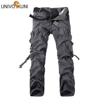 UNIVOS KUNI Camouflage Pants Mens Joggers Pants Casual Men's Hip Hop Long Cargo Military Overall Trousers Boardshorts Z1243