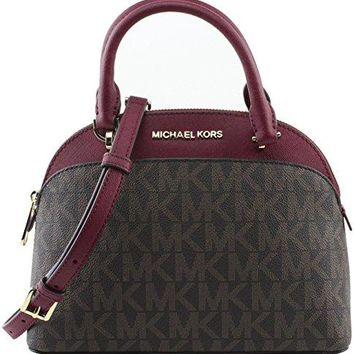 MICHAEL Michael Kors EMMY Women's Shoulder Handbag SMALL DOME SATCHEL (Brown/cherry) Michael Kors bag