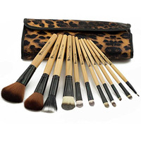 Bellissimo Cosmetic Makeup Brushes - 12 Piece Set Includes Elegant Leopard Bag for Easy Storage