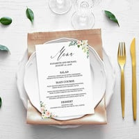 Printable menu cards for wedding, Bridal shower menu template, Floral dinner party menu template, Editable wedding food menu cards, Download