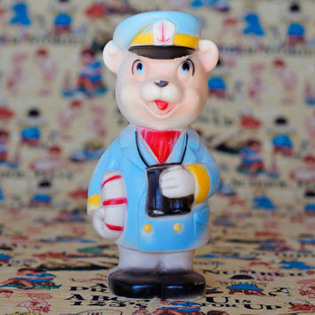 Vintage Squeaky Toy Sailor Bear with Life Saving Ring and Binoculars Rubber Bath Toy