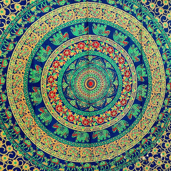 twin indian cotton psychedelic elephant mandala tapestry wall hanging hippie bedding throw bedspread bohemian boho ethnic decor art