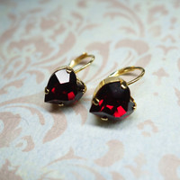 earrings heart shaped red gold plated crystal dangle earrings red gold heart earrings gift for girlfriend red Swarovski crystal earrings