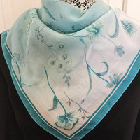 Vintage Scarf, Turquoise And White Floral Scarf, Vintage Accessory, Neck Scarf, DIY Craft Project