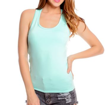 MINT PADDED CHEST SCOOP NECKLINE SLEEVELESS WORKOUT TOP