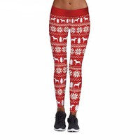 White Patterned Christmas Leggings