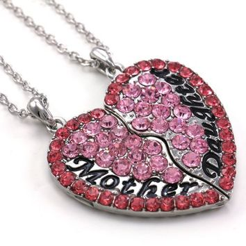 Pink Heart Necklace Mother Mom and Daughter Pendant Engraved Mother's Day Jewelry