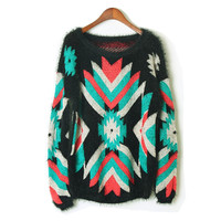 Vintage Geometry Contrast Color Sweater