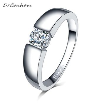 men silver color wedding Ring Engagement Rings Zirconia Anel Jewelry Women Love Bague Anillos Mujer Gift
