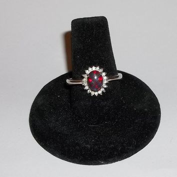 Blood Opal & CZ .925 Sterling Silver Dinner Ring Sz 8 1/2