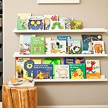 Denver Modern Floating Wall Ledge Shelf for Pictures and Frames 46 Inches Long , White …