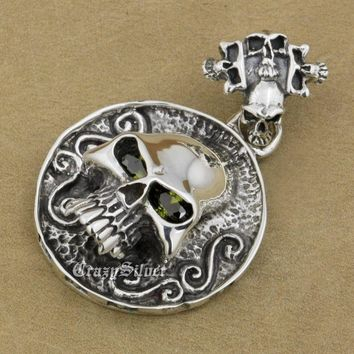 Eyes Skull Heavy Huge 925 Sterling Silver Biker Rocker Punk Pendant