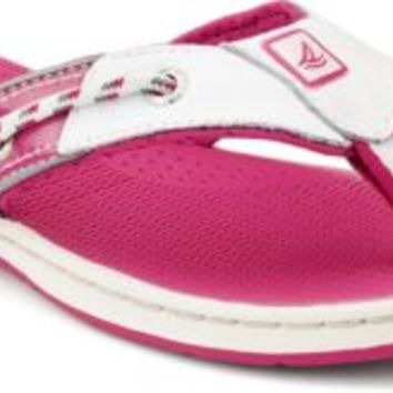 Sperry Top-Sider Seafish Thong Sandal White/Silver/Pink, Size 6M  Women's