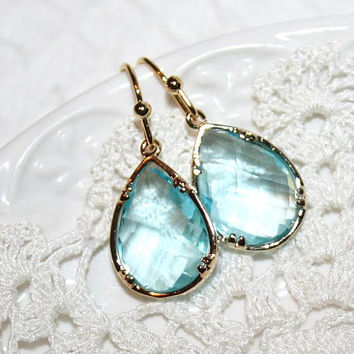 Aquamarine EarringsAqua Teardrop Earrings by AngelPearls on Etsy