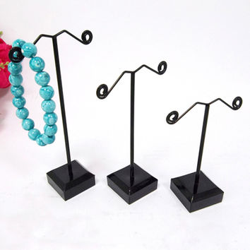 2015 New Black Acrylic Metal Jewelry Display Stand For Tassel Dangle Earrings Rack Stud Displays Holder Exhibitor 3pcs/set
