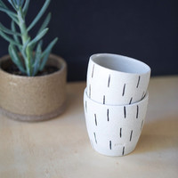 Ceramic/ pottery cups or mugs x 2, handmade of white raku with black stripe pattern. Contemporary design. Made in Australia. Great gift.
