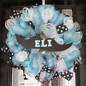Mustache Baby Wreath, Mustache Decoration, Baby Shower Decoration, Birthday Party Decor
