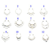 Crystal Silver Color Fake Nose Ring Hoop Ring Nose Body Jewelry 2016 new Hot fashion sale Fake Septum Rings Piercings