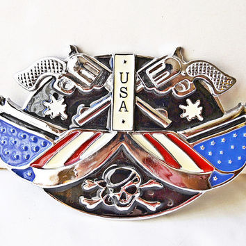 Large buckle belt, American flag, buckle with skull, buckle with pistols, USA buckle