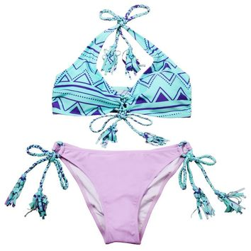 Purple & Blue Aztec Pattern Handmade Crochet Bikini With Laces