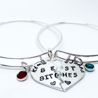 Best Bitches-personalised bracelets- best friends-expandable bangles-charm bracelet-friend gift- split / broken hearts-Gift for her