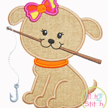 """Fishing Puppy Girl Applique shown with our """"Girls Have Secrets"""" Font NOT Included INSTANT DOWNLOADS now available Hoop sizes 4x4, 5x7, &6x10"""