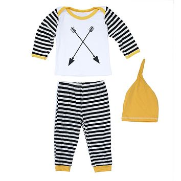 Newborn Unisex Cotton Clothing Set Baby Girls Boys Clothes Play suit Long Sleeve Top + Striped Pants + Hats Outfits