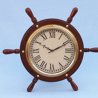 Solid Wood & Brass Ship Wheel Clock 15""