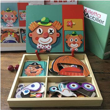 Magnetic Puzzle Wood Toy Wooden Puzzles For Kids Early Learning Educational Toys Cognitive Pretend Play Board Game Children Gift