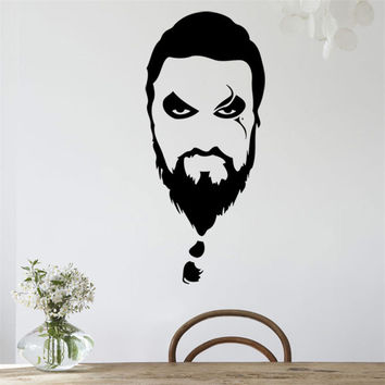 Handmade Graphic vinyl wall sticker of Khal Drogo portrait from Game of Thrones home decor wall decal murals pegatinas de pared