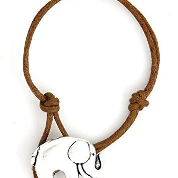 Good Luck Elephant Bracelet African Safari Silver Tone Pendant BF02 Brown Cord Fashion Jewelry