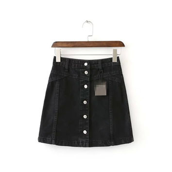 Summer Women's Fashion High Rise Mosaic Denim Skirt [4920257028]