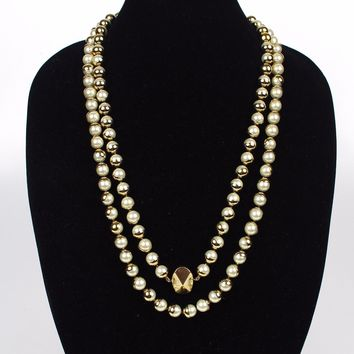 """Christian Dior Pearl Necklace Miss Dior  Gold Long 56"""" 