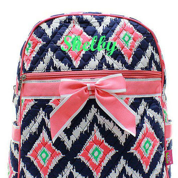 Monogrammed Coral and Navy IKAT Quilted Backpack  Personalized Quilted Backpack
