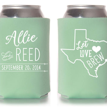 Custom Wedding Koozie - Let Love Brew - State Design