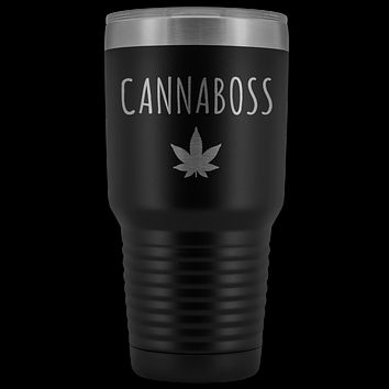 Marijuana Grower Gift New Dispensary Owner Cannabis CBD Oil Cannabis Tumbler Metal Mug Insulated Hot Cold Travel Coffee Cup 30oz BPA Free