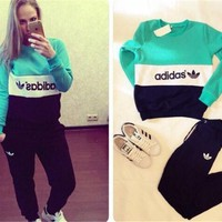 """ADIDAS""  The new women's sports leisure suit Black Green"