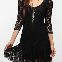 Ecote Ruffle Hem Lace Dress