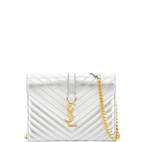 Monogramme Envelope Shoulder Bag, Silver - Saint Laurent