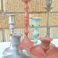 Upcycled and Revamped Brass Candle stick set of 6 with brass tray