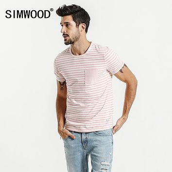 Summer New T Shirt Men Cotton Striped Slim Fit Clothing Pocket Pink Breton Top O neck