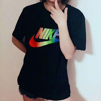 NIKE female fashion trend colorful rainbow new short-sleeved F-A-BM-YSHY Black