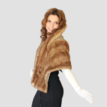 50s real mink stole. Vintage fur cape. Rockabilly dress coat. Camel color. Light brown. Mad Men Fashion. Mother's day gift.
